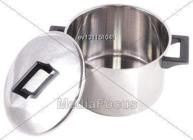 Saucepan (made Of Stainless Stee) With Stand Cover, On White Background.Isolated Stock Photo