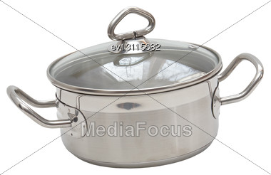 Saucepan, Made Of Stainless Steel With Handle,cover, On White Background. Isolated Stock Photo