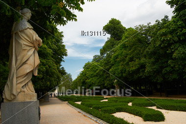 Saved Natural Parks In Europe Trees And Statues. Madrid Stock Photo