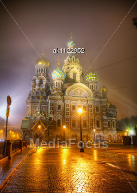 Savior On Blood Cathedral (Church Of The Resurrection Of Jesus Christ) In St. Petersburg, Russia In The Night Time Stock Photo
