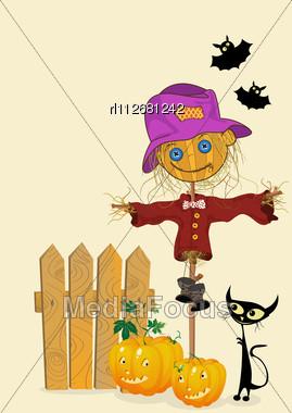 Scarecrow And Pumkins, Celebration Card Stock Photo