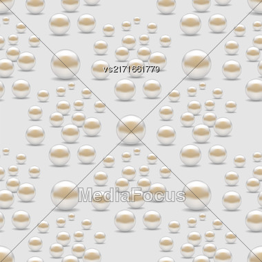 Scattered Pearls Seamless Pattern Isolated On Grey Background Stock Photo