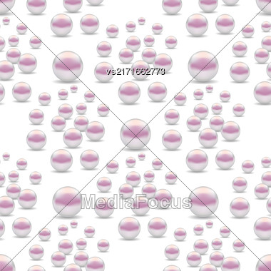 Scattered Pearls Seamless Pattern Isolated On White Background Stock Photo