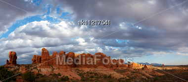 Scenic View At Arches National Park, Utah, USA In The Evening Light Stock Photo