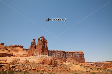 Scenic View At Arches National Park, Utah, USA In Sunny Day Stock Photo