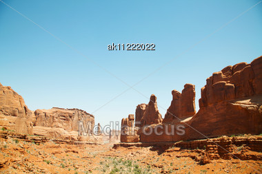 Scenic View At Arches National Park, Utah, USA In The Daylight Stock Photo