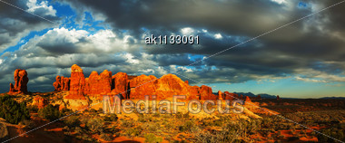Scenic View At The Arches National Park, Utah, USA In The Evening Light Stock Photo