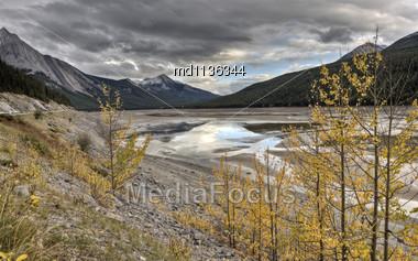 Scenic View Rocky Mountains Alberta Canada Jasper Highway Stock Photo