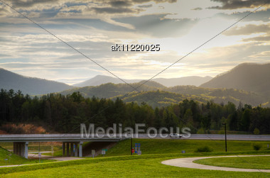 Scenic View At Sunset In Smoky Mountains, Tennessee Stock Photo