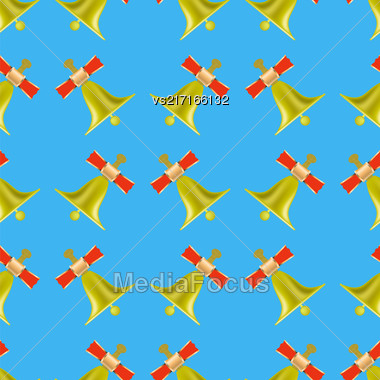 School Bell Seamless Pattern On Blue Background Stock Photo