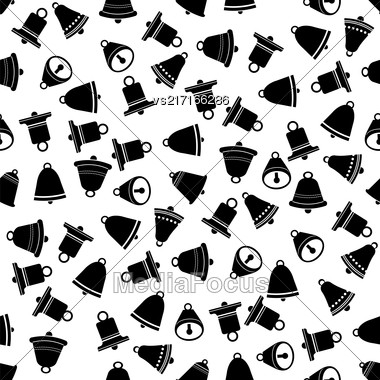 School Bell Seamless Pattern On White Background Stock Photo