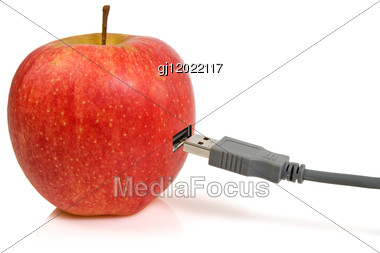 Science And Nature Symbiosis Concept. Apple And USB Plug Stock Photo