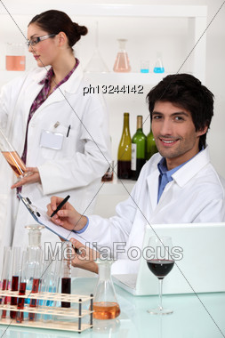 Scientists Conducting Experiments Stock Photo
