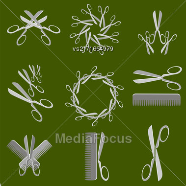 Scissors Icons Isolated On Green Background. Set Of Barber Symbols Stock Photo