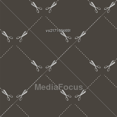 Scissors Seamless Pattern Isolated On Grey Background Stock Photo