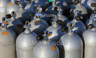 Scuba Air Tanks With Valves Stock Photo