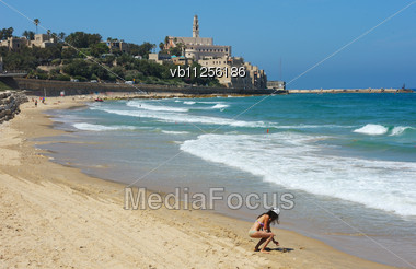 Sea Coast And The View Of The Old Jaffa From Tel Aviv Stock Photo