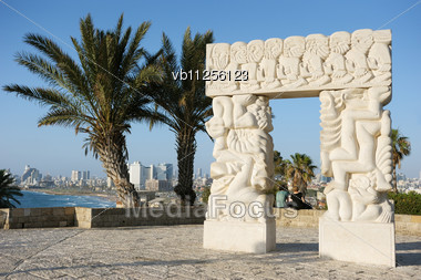 Sea Coast And The View Of The Tel Aviv From Old Jaffa Stock Photo