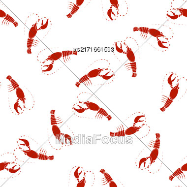 Sea Food Background. Red Omar Seamless Pattern Stock Photo