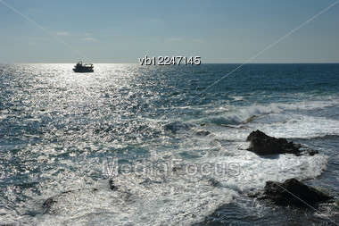 Sea At The Foot Of Remains Of Fortress Walls Of The Acre. Stock Photo