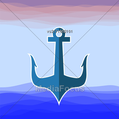 Sea Metal Anchor Silhouette Isolated On Blue Water Background Stock Photo