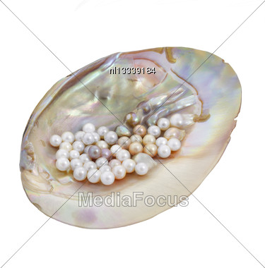 Sea Pearls In Mother Of Pearl. Isolated On White Background Stock Photo