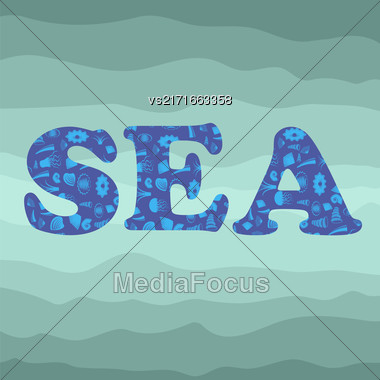 Sea Shell Silhouette Decorative Letters Sea On Azure. Ocean Background Stock Photo
