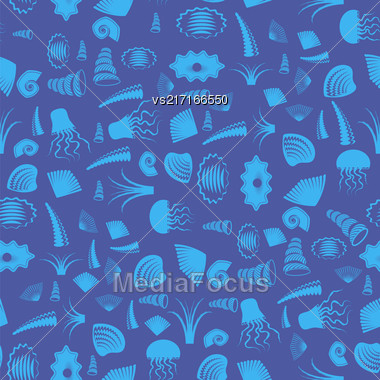 Sea Shell Silhouette Seamless Pattern On Blue. Jellyfish Background Stock Photo