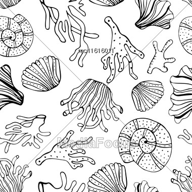 Sea Shells And Corals Seamless Background. Black And White Seamless Pattern For Coloring Book, Textile, Print, Wallpaper. Sea Life Pattern Stock Photo