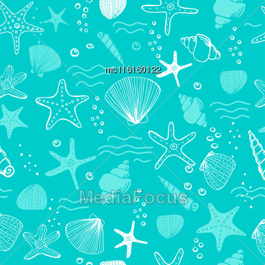 Sea Shells, Seastars And Corals Seamless Background. Blue And White Seamless Pattern For Coloring Book, Textile, Print, Wallpaper. Sea Life Pattern Stock Photo