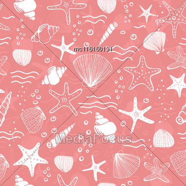 Sea Shells, Seastars And Corals Seamless Background. Pink Seamless Pattern For Coloring Book, Textile, Print, Wallpaper. Sea Life Pattern Stock Photo