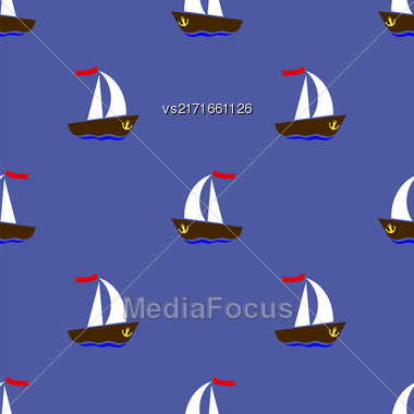 Sea Ships Silhouettes Seamless Pattern 0n Blue Background Stock Photo