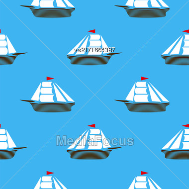 Sea Ships Silhouettes Seamless Pattern. Sailing Boat Background Stock Photo