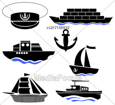 Sea Ships Silhouettes Isolated On White Background. Anchor Icon. Captain Hat Icon Stock Photo