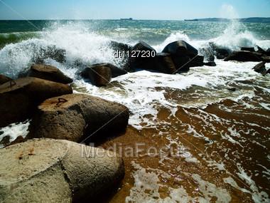 Sea Surf. Ukraine, Black Sea Coastline Stock Photo