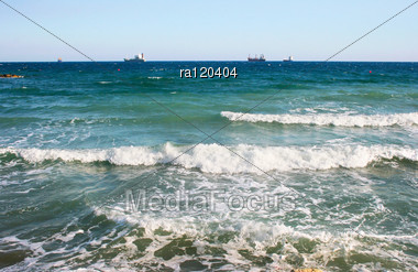 Sea Waves And Ship. Stock Photo