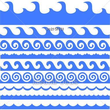 Sea Waves Set Isolated On White Background Stock Photo