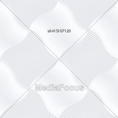 Seamless 3D Background. White Quilling Paper. Realistic Shadow And Cut Out Of Paper Effect. Geometrical Pattern.Quilling Paper Hatched Pillows Stock Photo