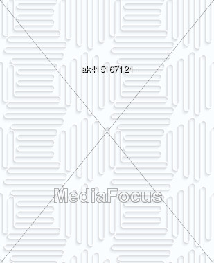 Seamless 3D Background. White Quilling Paper. Realistic Shadow And Cut Out Of Paper Effect. Geometrical Pattern.Quilling Paper Horizontal And Vertical Waves Stock Photo