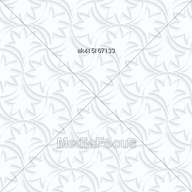 Seamless 3D Background. White Quilling Paper. Realistic Shadow And Cut Out Of Paper Effect. Geometrical Pattern.Quilling Paper Floral Pin Will Stock Photo