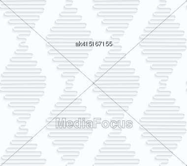 Seamless 3D Background. White Quilling Paper. Realistic Shadow And Cut Out Of Paper Effect. Geometrical Pattern.Quilling Paper Waves Forming Diamonds Stock Photo