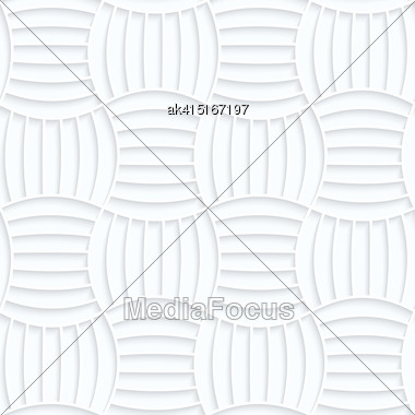 Seamless 3D Background. White Quilling Paper. Realistic Shadow And Cut Out Of Paper Effect. Geometrical Pattern.Quilling Paper Striped Pin Will Stock Photo