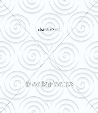 Seamless 3D Background. White Quilling Paper. Realistic Shadow And Cut Out Of Paper Effect. Geometrical Pattern.Quilling Paper Three Spirals Stock Photo