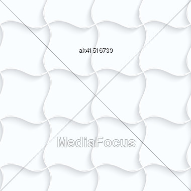 Seamless 3D Background. White Quilling Paper. Realistic Shadow And Cut Out Of Paper Effect. Geometrical Pattern.Quilling Paper Pillow Grid Stock Photo