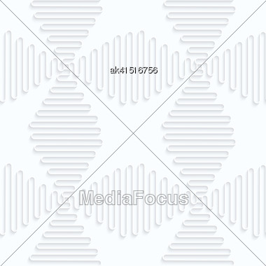 Seamless 3D Background. White Quilling Paper. Realistic Shadow And Cut Out Of Paper Effect. Geometrical Pattern.Quilling Paper Waves Forming Crosses Stock Photo