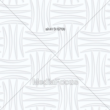 Seamless 3D Background. White Quilling Paper. Realistic Shadow And Cut Out Of Paper Effect. Geometrical Pattern.Quilling Paper Four Strip Pin Will Stock Photo