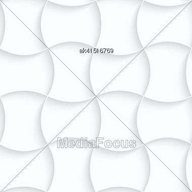 Seamless 3D Background. White Quilling Paper. Realistic Shadow And Cut Out Of Paper Effect. Geometrical Pattern.Quilling Paper Pin Will Grid Stock Photo