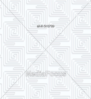 Seamless 3D Background. White Quilling Paper. Realistic Shadow And Cut Out Of Paper Effect. Geometrical Pattern.Quilling Paper Vertically Connected Square Spirals Stock Photo