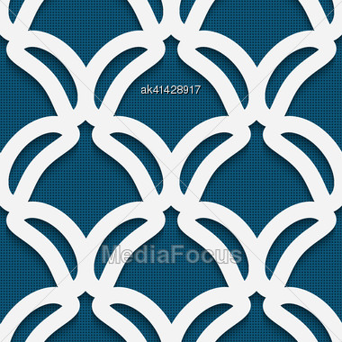 Seamless Abstract Background Of White 3d Shapes With Realistic Shadow And Cut Out Of Paper Effect. White Shape On Textured Blue Background Stock Photo