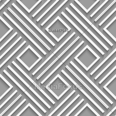 Seamless Abstract Background. White Crossed Lines With Cut Out Of Paper Effect And Realistic Shadow On Gray Stock Photo